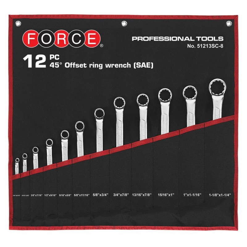 12pc 45° Offset Ring Wrench Set (in Cloth Bag) (sae)