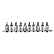 "10pc 1/4""dr. Phillips, Pozidriv, Slotted Socket Bit Set"